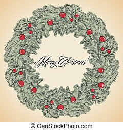 Vector Christmas wreath frame
