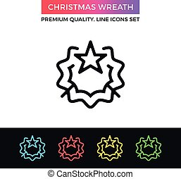 Vector Christmas wreath icon. Thin line icon