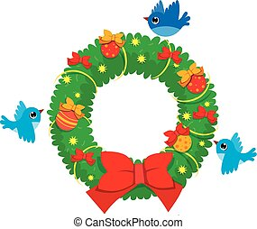 vector Christmas wreath of spruce branches with flying birds
