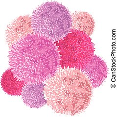 Vector Chunky Bunch of Pink Baby Girl Birthday Party Pom Poms Element. Great for handmade cards, invitations, wallpaper, packaging, nursery designs.