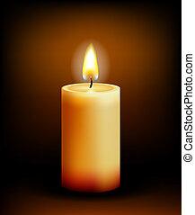 Church candle light - Vector Church candle light on black ...