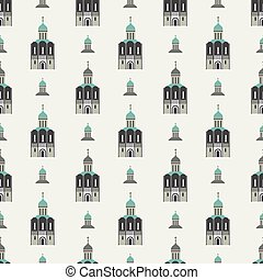 vector church seamless pattern flat background design