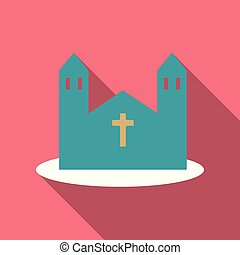 Vector church Icon. Cartoon illustration