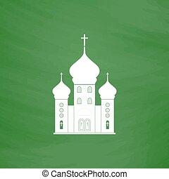 Vector church icon - Church. Flat Icon. Imitation draw with...