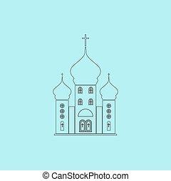 Vector church icon - Church. Simple outline flat vector icon...
