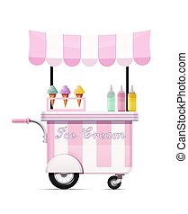 vector., cibo, shop., cart., digiuno, mobile, bar., gelato, spuntino