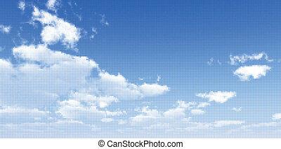 vector, cielo, scape., ilustración