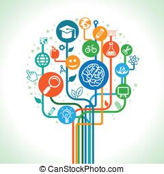 vector, ciencia, concepto, educación