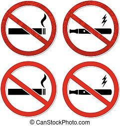 vector, cigarett, señal, fumar, no