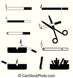 vector, cigarrillos, ceniceros