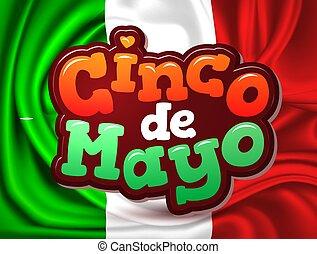 Vector cinco de mayo Mexico flag realistic