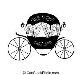 vector, cinderella, carriage., fairytale, rosa, ilustración, princesa
