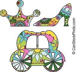Vector Cinderella set colorful