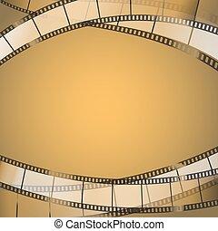 vector, cine, strips., película, plano de fondo, ilustración, amarillento, resumen