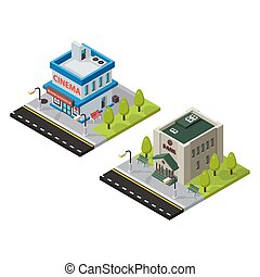 Vector cinema and bank isometric buildings isolated