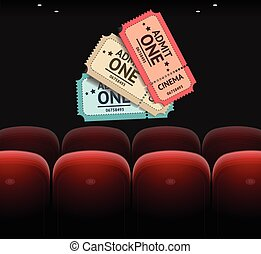 Vector Cinema Concept, seats and tickets isolated on black...