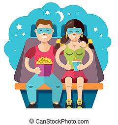Vector Cinema couple. Flat style colorful Cartoon...