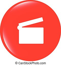vector cinema glossy icon button on white background