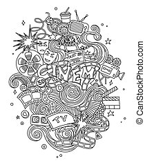 Vector Cinema, movie, film doodles hand drawn sketch.  symbols and objects with  design