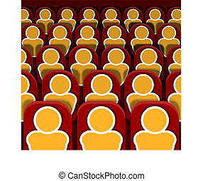 Vector Cinema Seats Rows with People, Colorful Image.