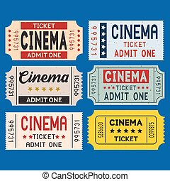 Vector cinema ticket in retro style set