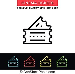 Vector cinema tickets icon. Thin line icon