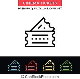 Vector cinema tickets icon. Thin line icon
