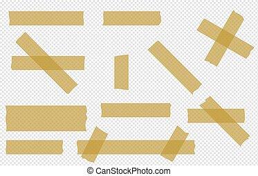 vector, cinta, transparente, conjunto, pedazos, adhesivo