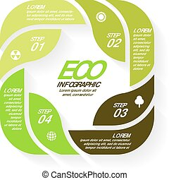 Vector circle arrows green eco infographics set. Ecology diagram, graph, presentation, leaves chart. Organic nature concept with 4 or 8 options, parts, steps.