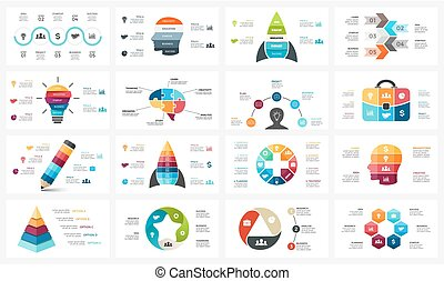 Vector circle arrows infographic, cycle diagram, business graph, presentation chart. Options, part, step, process. Human head puzzle brain, light bulb, briefcase, timeline, startup rocket, pyramid, medical plus sign, pen.