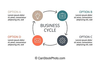 Vector circle arrows infographic, cycle diagram, graph, presentation chart. Business concept with 4 options, parts, steps, processes. Slide template.