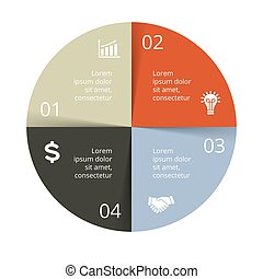 Vector circle arrows infographic, cycle diagram, graph, presentation chart. Business concept with 4 options, parts, steps, processes.
