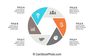 Vector circle arrows infographic, cycle diagram, graph, presentation chart. Business concept with 6 options, parts, steps, processes. Slide template.