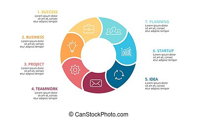Vector circle arrows infographic, cycle diagram, graph, presentation chart. Business concept with 7 options, parts, steps, processes. Slide template.
