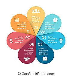 Vector circle arrows infographic, cycle diagram, graph, presentation chart. Business concept with 7 options, parts, steps, processes.