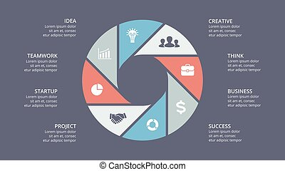 Vector circle arrows infographic, cycle diagram, graph, presentation chart. Business concept with 8 options, parts, steps, processes.