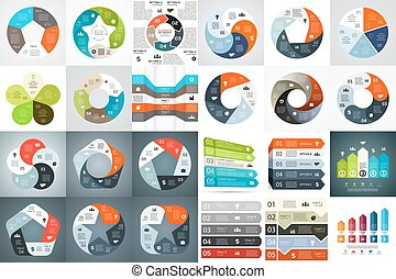 Vector circle arrows infographic, diagram, graph, presentation, chart. Business cycle concept with 5 options, parts, steps, processes. Info graphic data template.