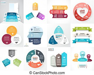Vector circle arrows infographic set. Business diagram, graphs, startup logo presentation, idea chart. Data options, 3 parts, steps, processes. Heart, people, head, triangle, stairs.