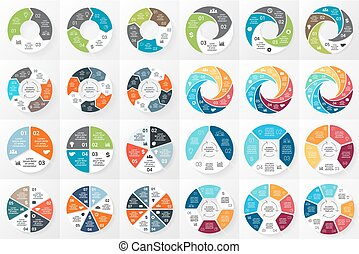 Vector circle arrows infographics bundle. Template for cycle...