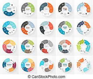 Vector circle arrows infographics set. 3, 4, 5, 6 options, parts, steps. Template for cycle diagram, graph, puzzle presentation and round chart. Business concept with data processes.