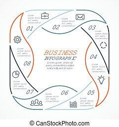 Vector circle arrows linear infographic, cycle diagram, graph, presentation chart. Business concept with 8 options, parts, steps, processes.