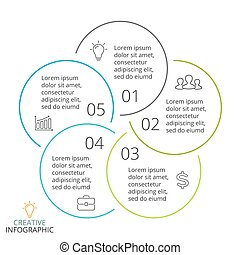 Vector circle arrows linear infographic, cycle diagram, minimal graph, flat presentation chart