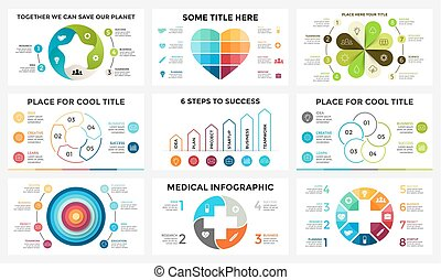 Vector circle arrows linear infographic, cycle diagram, graph, presentation chart. Business concept with 4, 5, 8 options, parts, steps, process. Medicine plus health, heart love, ecology flower nature