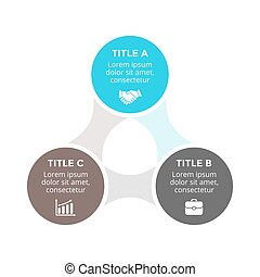 Vector circle arrows metaball triangle infographic, cycle diagram, graph, presentation chart. Business concept with 3 options, parts, steps, processes.
