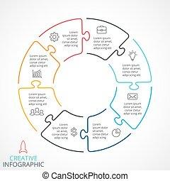 Vector circle arrows puzzle infographic - Circle arrows...