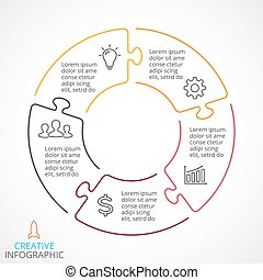 Vector circle arrows puzzle infographic, cycle diagram, linear graph, presentation chart