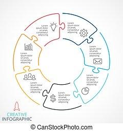 Vector circle arrows puzzle infographic, cycle diagram,...