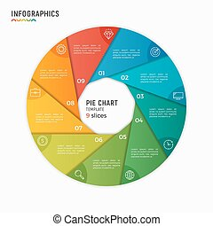 Vector circle chart infographic template. 9 options, steps, parts