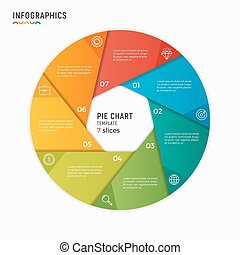 Vector circle chart infographic template. 7 options, steps, parts