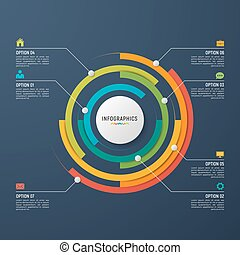 Vector circle chart infographic template for data visualization.